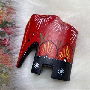 Vintage Hand Painted Elephant Small Mini Wooden